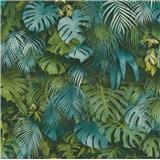 Vliesové tapety na zeď Greenery palmové listy modro-zelené