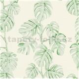Vliesové tapety na zeď Greenery fíkusové listy zelené na bílém podkladu