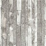 Vliesové tapety na zeď Home dřevěný obklad s kůrou šedý