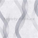 Vliesové tapety na zeď LIVIO vlnovky šedo-stříbrné na šedém podkladu