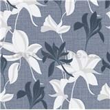 Vliesové tapety na zeď IMPOL Luna2 květy modro-bílé na modrém podkladu se stříbrnou nití