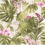 Vliesové tapety na zeď My Raid palmové listy s růžovými květy orchidejí na bílém podkladu