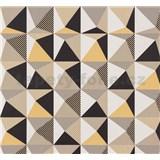 Vliesové tapety na zeď NENA 3D vzor světle okrový - POSLEDNÍ KUSY