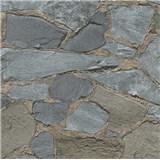 Vliesové tapety na zeď Belinda kameny hnědo-šedé tmavé