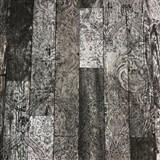 Vliesové tapety na zeď Novara 3 dřevěné desky černo-šedé s černými ornamenty
