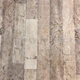 Vliesové tapety na zeď Novara 3 dřevěné desky světle hnědé s bílými ornamenty