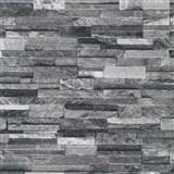 Vliesové tapety na zeď Origin - kámen pískovec černo-šedý