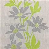 Vliesové tapety na zeď Polar květy šedé se zelenými lístky a lesklými detaily - POSLEDNÍ KUSY