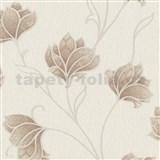 Vliesové tapety na zeď Spotlight květy hnědé s béžovými konturami na krémovém podkladu