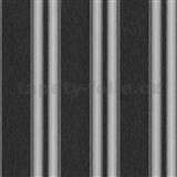 Vliesové tapety na zeď Spotlight pruhy černo-šedé se stříbrnými proužky