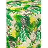 Ubrusy návin 20 m x 140 cm tropické listy na krémovém podkladu s textilní strukturou