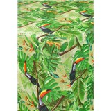 Ubrus metráž jungle s tukany s textilní strukturou