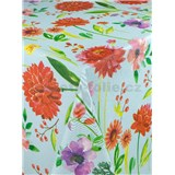 Ubrus metráž velké květy na krémovém podkladu s textilní strukturou