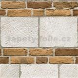 Vliesové tapety na zeď cihly bílo-hnědé