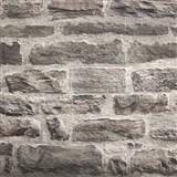Vliesové tapety na zeď cihlová stěna šedo-černá