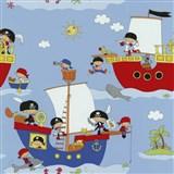 Papírové tapety na zeď Dieter Bohlen 4 Kidz piráti na červené lodi