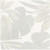 Luxusní vliesové tapety na zeď Avalon listy s květy šedé na světle šedém podkladu
