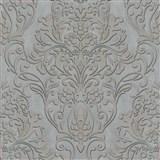 Vliesové tapety IMPOL City Glam zámecký vzor zlatý s metalickým odleskem na šedém podkladu