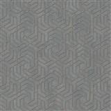 Vliesové tapety IMPOL City Glam geometrický vzor tmavě šedý s růžovými metalickými odlesky