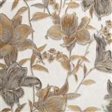 Vliesové tapety na zeď IMPOL Collection květy bronzovo-stříbrné