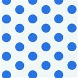 Dětské tapety na zeď Die Maus puntíky modré na bílém podkladu