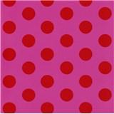 Tapety na zeď Die Maus puntíky červené na růžovém podkladu