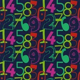 Dětské tapety na zeď Die Maus barevné číslice na modrém podkladu - POSLEDNÍ KUSY