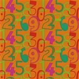 Dětské tapety na zeď Die Maus barevné číslice na oranžovém podkladu