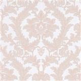 Vliesové tapety na zeď IMPOL Effecto zámecký vzor růžový s třpytkami na bílém podkladu