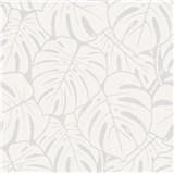 Vliesové tapety na zeď Ella velké listy bílo-stříbrné
