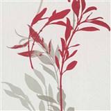 Vliesové tapety na zeď IMPOL Wall We Love květy červeno-šedé na bílém podkladu