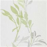 Vliesové tapety na zeď IMPOL Wall We Love květy zeleno-šedé na bílém podkladu