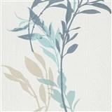 Vliesové tapety na zeď IMPOL Wall We Love květy modro-béžové na bílém podkladu