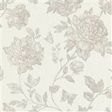 Vliesové tapety na zeď Classic květy šedé na textilním podkladu