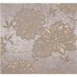 Vliesové tapety na zeď Estelle květy hnědé na zlato-hnědém podkladu
