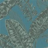 Vliesové tapety na zeď Felicita listy černo-zelené na tyrkysovém podkladu