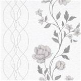 Vliesové tapety na zeď IMPOL Finesse květy šedé na bílém podkladu