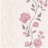Vliesové tapety na zeď IMPOL Finesse květy růžové na béžovém podkladu