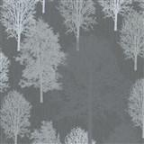 Vliesové tapety na zeď IMPOL Giulia stromy světle šedé na tmavě šedém podkladu