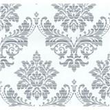 Vliesové tapety na zeď Glamour zámecký vzor stříbrný na bílém podkladu