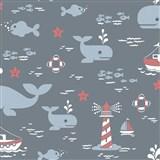 Vliesové tapety na zeď velryby modré