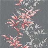 Vliesové tapety na zeď IMPOL Hailey popínavé listy červené na tmavě šedém podkladu