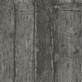Vliesové tapety na zeď Imagine dřevěný obklad černo-hnědý s výraznou strukturou