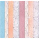 Papírové tapety na zeď It's Me Vintage prkna oranžové, růžové, modré