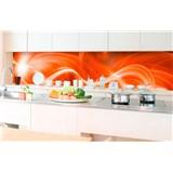 Samolepící tapety za kuchyňskou linku abstrakt oranžový rozměr 350 cm x 60 cm