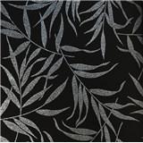 Luxusní vliesové tapety na zeď LACANTARA listy stříbrné na černém podkladu