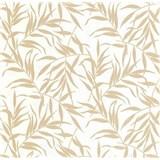 Luxusní vliesové tapety na zeď LACANTARA listy zlaté na bílém podkladu podkladu