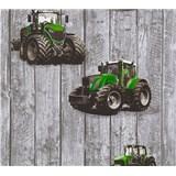 Dětské vliesové tapety na zeď Little Stars traktory zelené na dřevených deskách