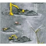 Dětské vliesové tapety na zeď Little Stars stavební stroje žluté na šedém podkladu