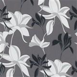 Vliesové tapety na zeď IMPOL Luna velké lesklé květy černo-stříbrné